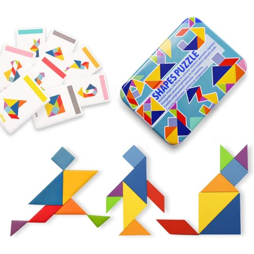Wooden Tangram Puzzle Jigsaw Montessori Educational Toys For Toddlers Kids Boys And Girls