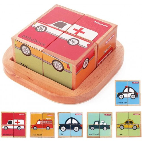 Wooden Block Puzzles Toys Toddler Six Sides Painting Pattern Jigsaw Vehicle Blocks Cube Puzzle