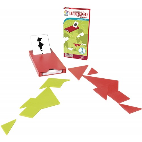 Tangoes Brainiac Tangram Travel Game With Portable Case Featuring 100 Challenges For Ages 7