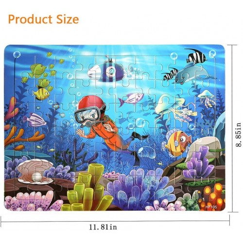Wooden Jigsaw Puzzles Age 48 60 Piece Colorful For Toddler Children Learning