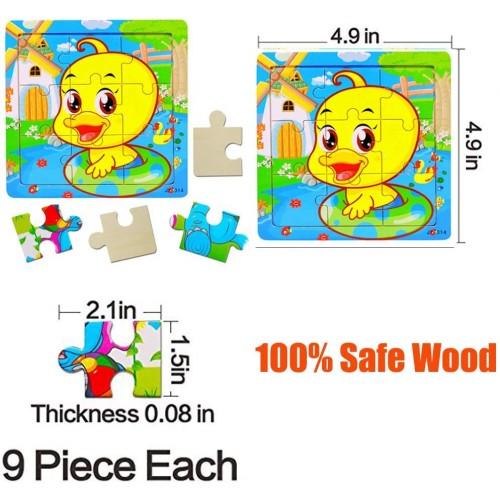 Wooden Jigsaw Puzzles Set For Children 9 Piece Animals Colorful Preschool
