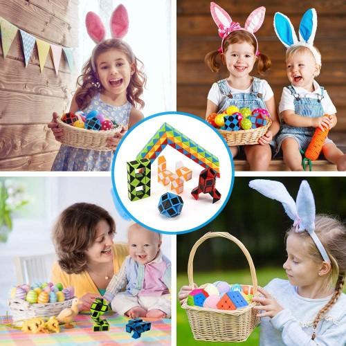 Ganowo 3Pcs Big Size Fidget Snake Cube Magic Twist Puzzle Toys Birthday Party Favors Easter Basket