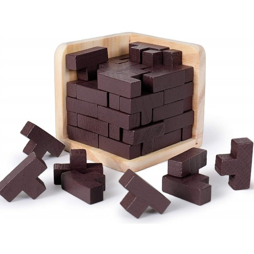 Rolimate Brain Teaser 3D Wooden Puzzle Tshaped Tetris Educational Puzzles Geometric Intellectual