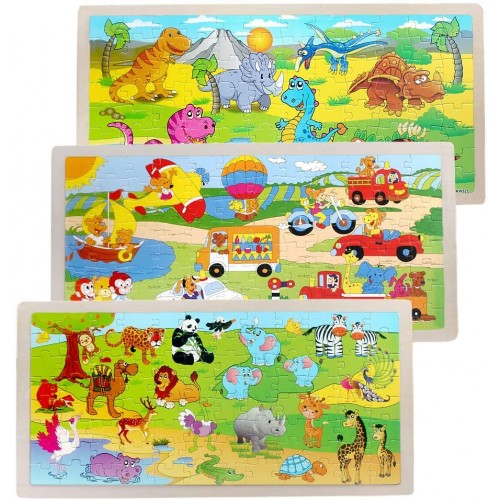 Puzzles 412 Wooden Puzzle Toy 3 Pack Theme Dinosaur AnimalAmusement ParkLearning Gift 96