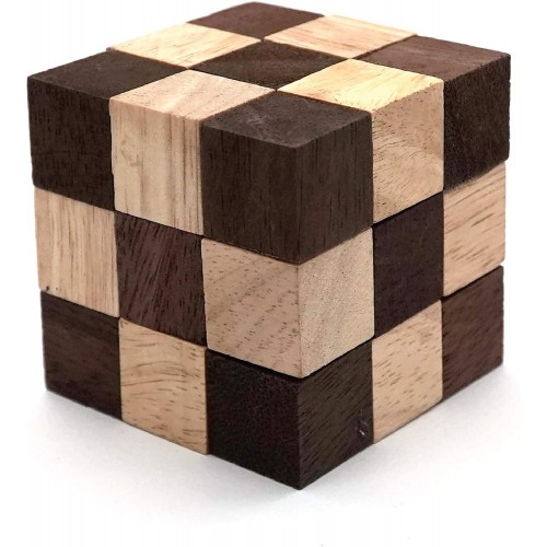 Snake Puzzle Cube Classic Games M Size And 3D Mind Puzzles For Adults In Hand With Wooden