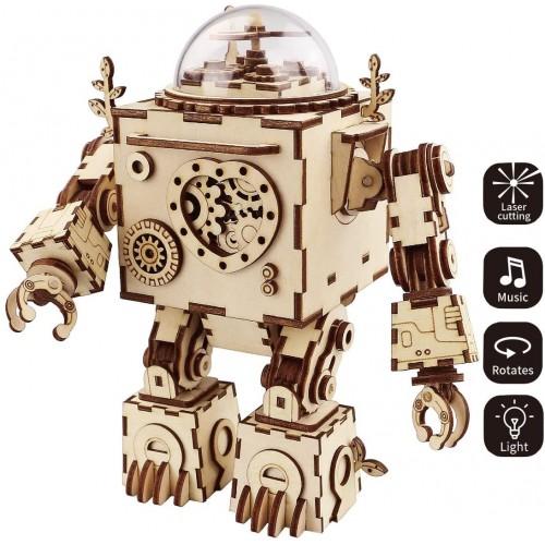 Rokr 3D Wooden Puzzle Music Box Craft Toys Gifts For Men Women Kids Machinarium Diy Robot Figures