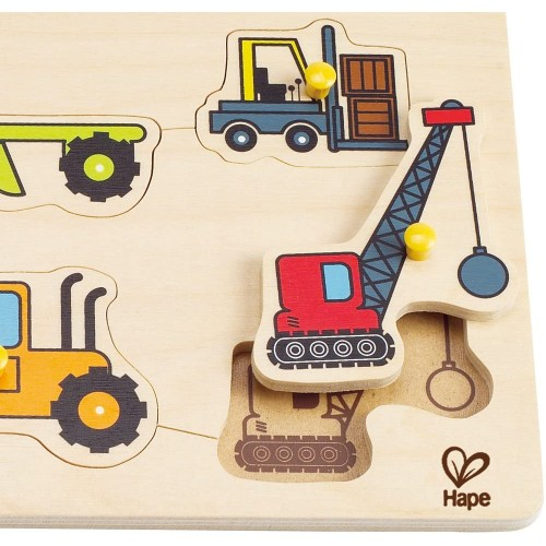Hape Construction Site Kids Wooden Toddler Peg