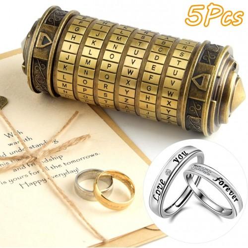 Tuparka 5 Pieces Da Vinci Code Mini Cryptex Puzzle Boxes Valentines Day Interesting Creative