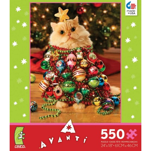 Ceaco Christmas Tree Kitten Cat Dressed Up As 550 Pieces Jigsaw Puzzle 18 x 24