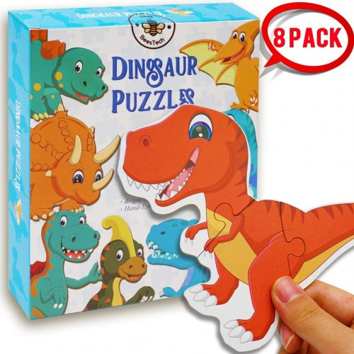 Beestech Beginner Dinosaur Puzzles For 2 34 Toddlers 8 Pack Wooden Jigsaw Floor Educational