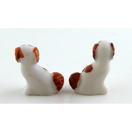 Melody Jane Dolls Houses House Miniature Ornament Fireplace Accessory Pair Staffordshire Dogs