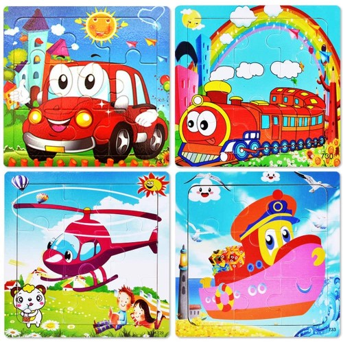 Puzzles Toys For Age 25 9 Pieces Vibrant Wooden Animals Vehicle Kids Educational