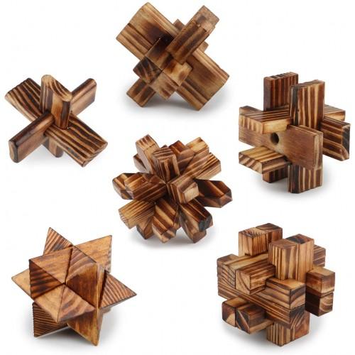 Brain Teasers 3D Wooden Puzzles Interlocking Blocks Educational Toys Mind Games Iq Challenge Test