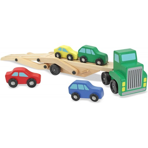 Melissa Doug Car Carrier Truck Cars Wooden Toy Set Compatible With Train Tracks Quality Wood