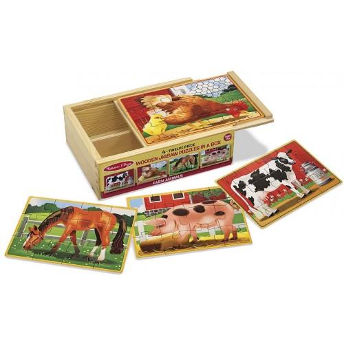 Melissa Doug Farm Jigsaw Puzzles In A Box Four Wooden Beautiful Artwork Sturdy
