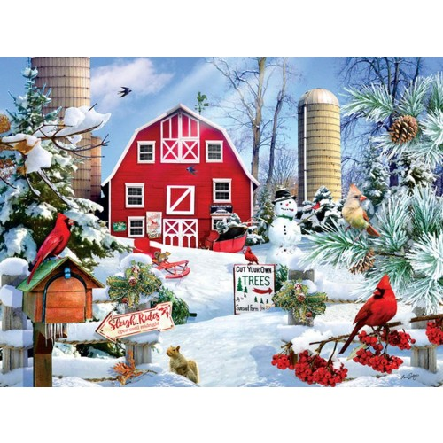 A Snowy Day On The Farm 300 Pc Jigsaw Puzzle By