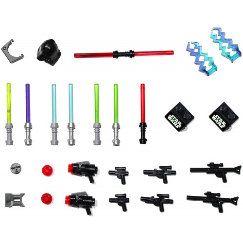 Lego Star Wars Accessory And Weapons Pack 8 Lightsabers Blasters 2 Display Stands