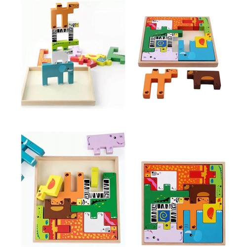 Tkmom Animal Iq Building BlocksTitres Puzzle Preschool Educational Learning 3D Blocks Stack Shapes