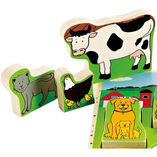 Hape Farm Animals Toddler Wooden Stand Up