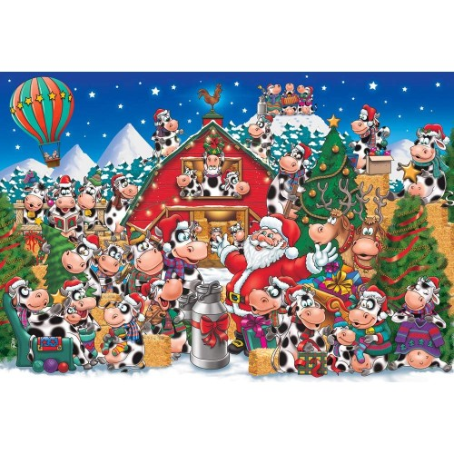 Christmas Party Cows Kids Jigsaw Puzzle 100