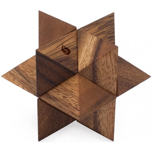 Shooting Star Puzzle Handmade Organic 3D Brain Teaser Wooden For Adults From Siammandalay