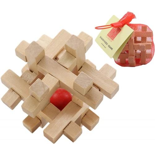 Ebros Frank Lloyd Wright Mini Square Interlocking Textile Blocks 3D Puzzle 3 Height Wooden Puzzles