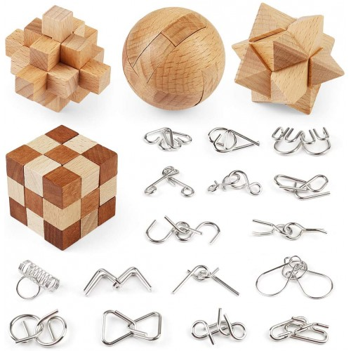 Brain Teaser Puzzle Wooden And Metal Wire Puzzles 20 Pcs Unlock Interlock Games