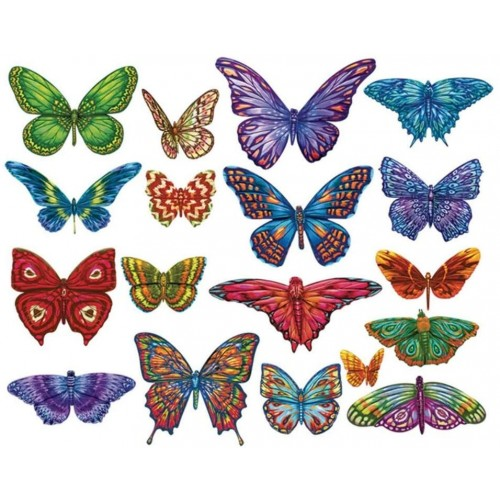 Butterflies Ii 18 Mini Shaped Puzzles Totaling 500 Pieces By Lafayette Puzzle