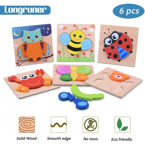 Longruner 6 In 1 Animal Jigsaw Puzzles Wooden Puzzle Set Bright Vibrant Color Animals Patterns