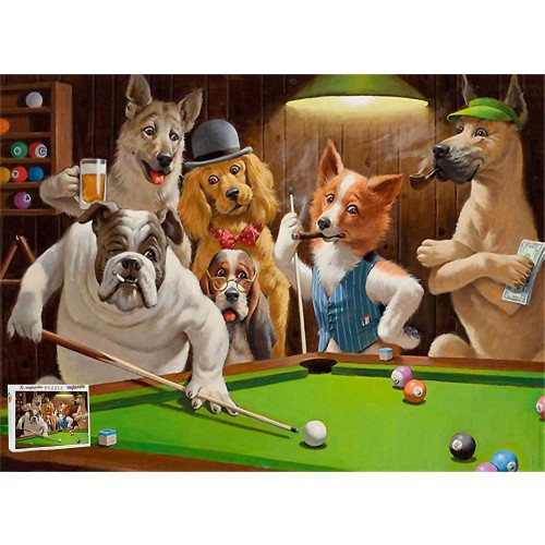 Dogs Playing Pool Billiards Snooker Jigsaw Puzzle Kids Adults Unique Design 500 Pieces