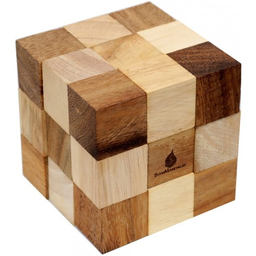 Siammandalay Dark Brown Serpent Cube Handmade Organic Traditional Wood Game For Adults From With Sm