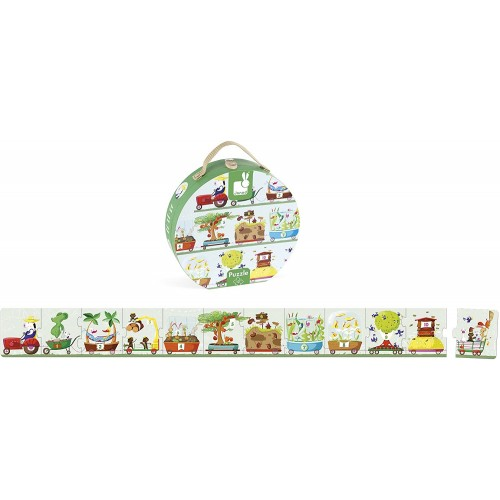 Janod Hat Box Giant Numbers Tractor Puzzle 12