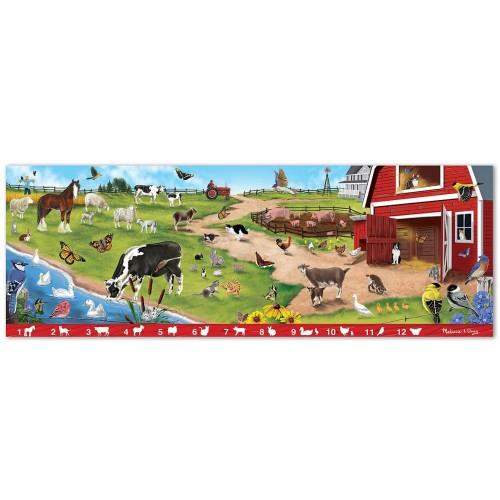 Melissa Doug Search And Find Sunny Hill Farm Jumbo Jigsaw Floor Puzzle 48 Pcs Over 4 Feet