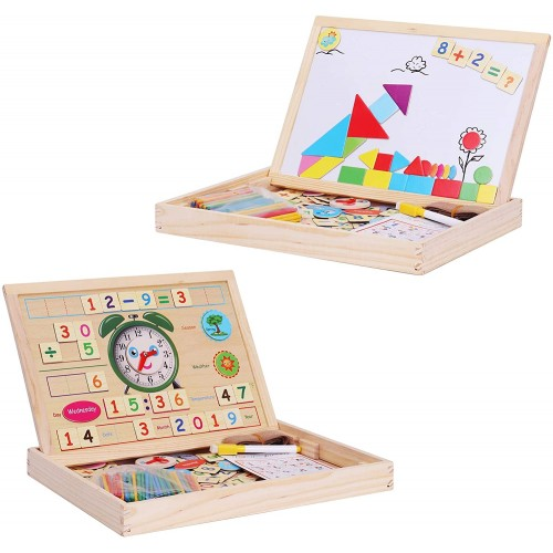Becko Travel Doublesided Magnetic Wooden Educational Toys For Drawing Playing Jigsaw Puzzles