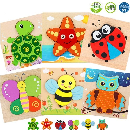 Wooden Jigsaw Puzzle Bpa Free Cpc Approved Cute Animals Puzzles Early Educational Toys Fine Motor