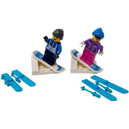 Lego Male And Female Winter Sports Couple Custom Snowboard Ski