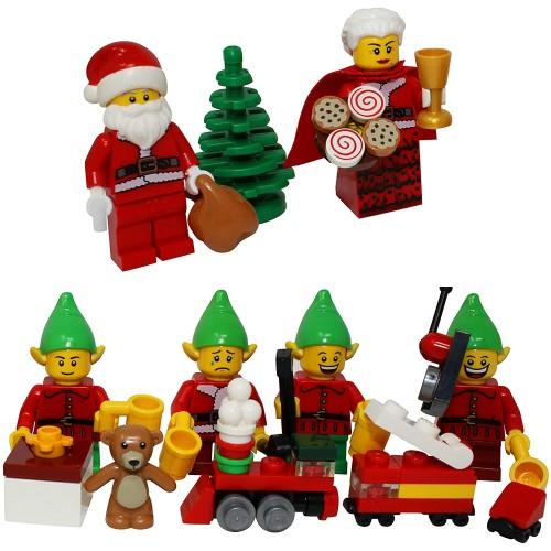 Lego Christmas Santa Claus Mrs 4 Elves Tree Elf Gift Presents Custom xmas