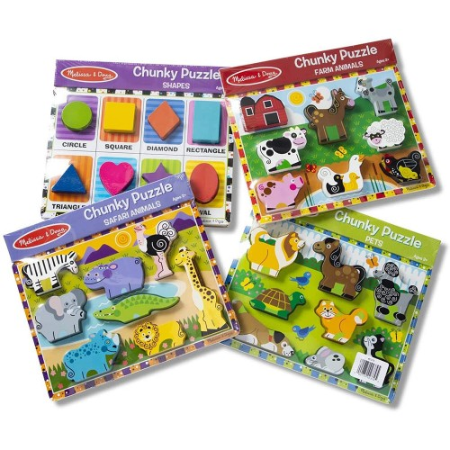 Melissa Doug Wooden Chunky Puzzle Farmpetsafarishapes 8