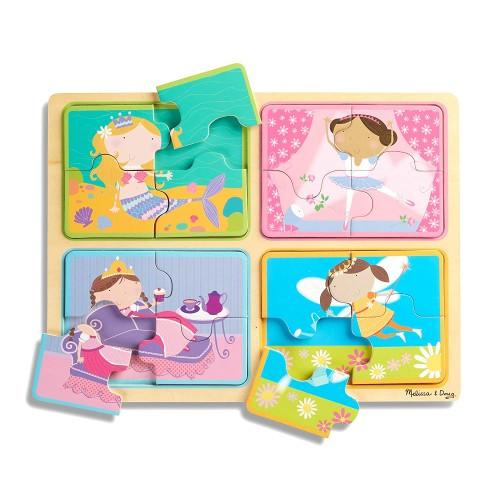 Melissa Doug Natural Play Wooden Puzzle Little Princesses Four 4Piece Princess Puzzles Great Gift