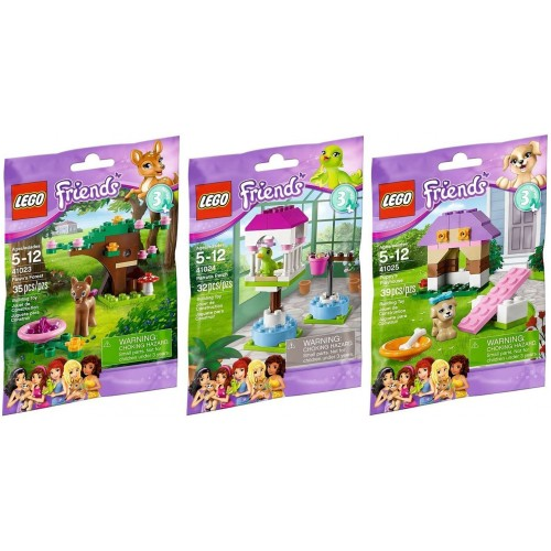Lego Friends Animal Series 3 Complete Set With Parrot Puppy