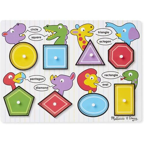 Melissa Doug Shapes Wooden Peg Puzzle 8