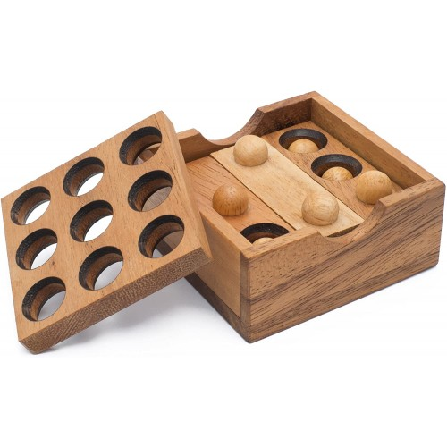 Gopher Holes Handmade Organic 3D Brain Teaser Wooden Puzzle For Adults From Siammandalay With Sm
