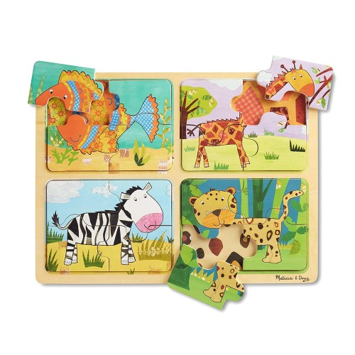 Melissa Doug Natural Play Wooden Puzzle Animal Patterns Four 4Piece Puzzles