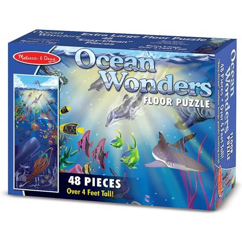 Melissa Doug Ocean Wonders Jumbo Jigsaw Floor Puzzle 48 Pcs Over 4 Feet