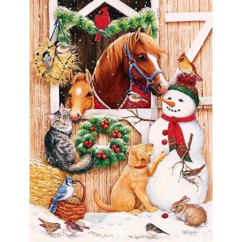 Barn Door Crowd 300 Pc Jigsaw Puzzle Christmas Theme Snowman By