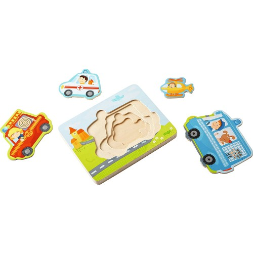 Haba Emergency Call 4 Piece Layered Wooden Puzzle For Ages 12 Months And