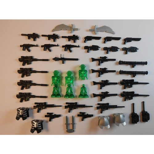 42 Items Guns And Lego Aliens Accessories Armor Swords