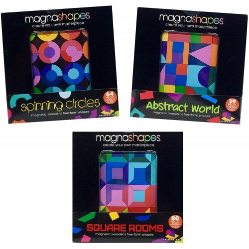 Magnashapes Magnetic Shape Freeform Puzzle Bundle Set Of 3 Abstract World Spinning Circles And