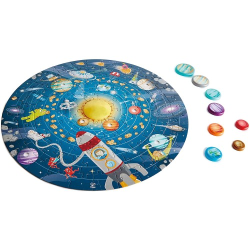 Hape Solar System Puzzle Round Toy Solid Wood Pieces And A Glowing Led