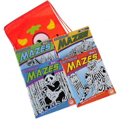 Deluxe Games And Puzzles Extreme Mazes Bundle Four 4 Books Volumes 1 2 3 Bonus Colorful Silly